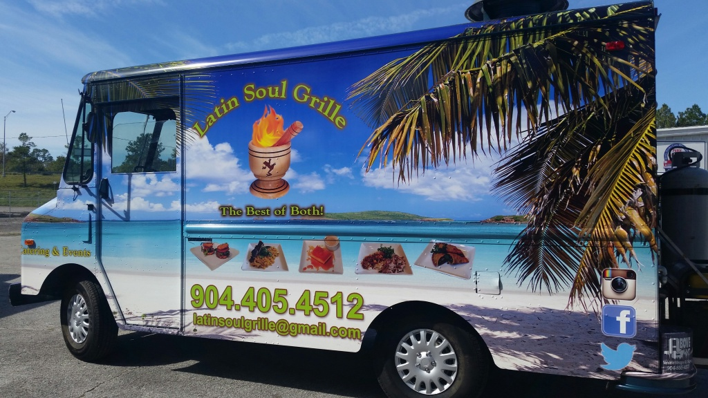 Hello, we are Gary & Maritza Lathion, we own Latin Soul Grille food truck. We specialize in serving the finest Latin (Puerto Rican) foods with bbq smoked meats & can be reached by calling (904) 405-4512. or you may email us at latinsoulgrille@gmail.com.